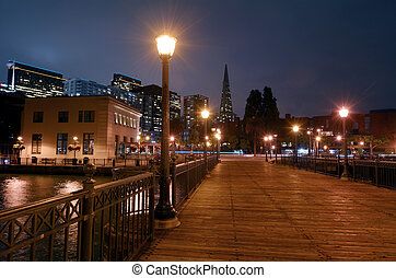 Transamerica Pyramid at night in San Francisco, CA - SAN...