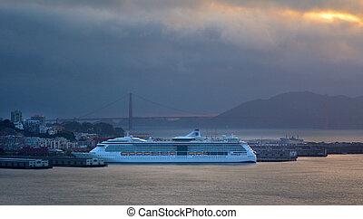 Cruise ship dock in San Francisco port
