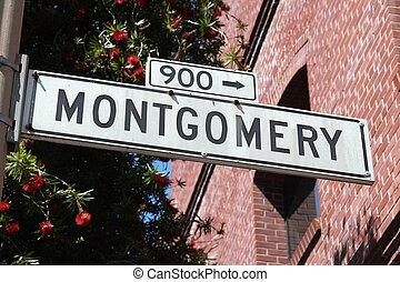 San Francisco, California, United States - Montgomery Street sign.