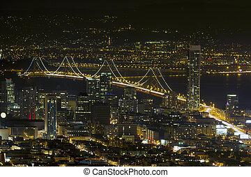 San Francisco Oakland Bay Bridge at Night