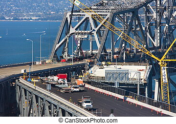 San Francisco Oakland Bay Bridge during construction of the east