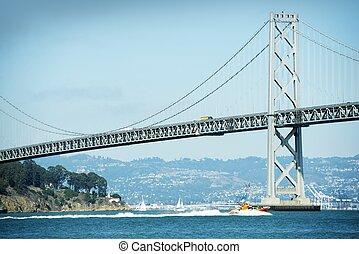 Oakland bay bridge traffic drive  urban blue color grading