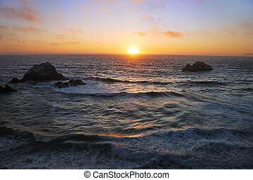 san francisco, oceano, spiaggia, tramonto