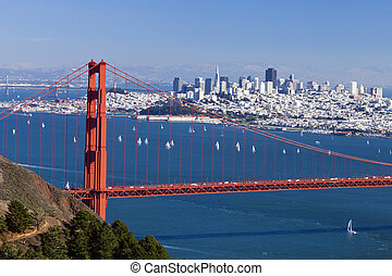 San Francisco Panorama w the Golden Gate bridge - San...