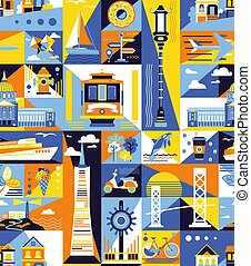 San-Francisco pattern seamless design graphic