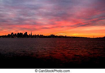 San Francisco skyline at sunset