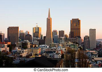 San Francisco downtown at sunset
