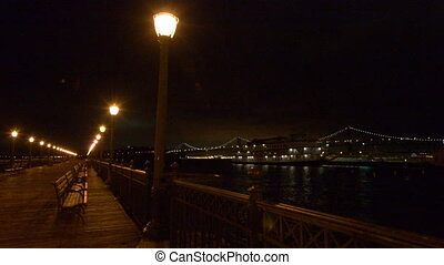 San Francisco Pier 7 at night - Romantic view of San...