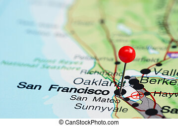 San Francisco pinned on a USA map