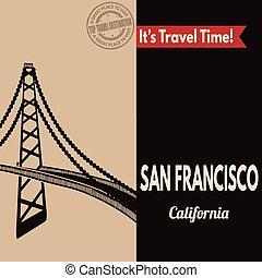 San Francisco, retro touristic poster