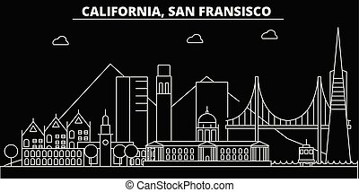 San Francisco silhouette skyline. USA - San Francisco vector city, american linear architecture, buildings. San Francisco travel illustration, outline landmarks. USA flat icons, american line banner