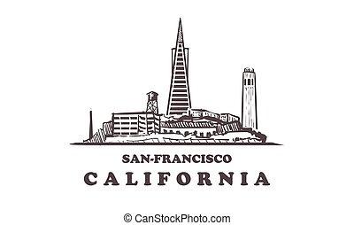 San-Francisco sketch skyline. USA, San Francisco hand drawn vector illustration.