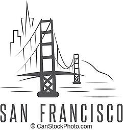 san francisco skyline and golden gate bridge vector design...
