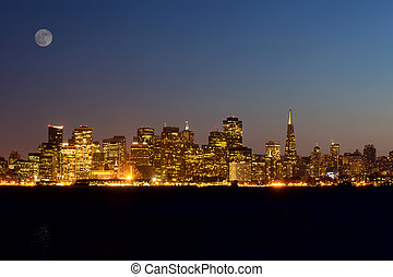 San Francisco skyline at night, California, USA