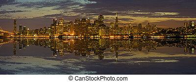 San Francisco Skyline at Sunset Panorama