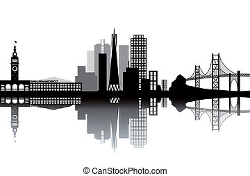 San Francisco skyline - black and white vector illustration