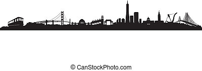 San Francisco Skyline - Black and White Vector of the San...