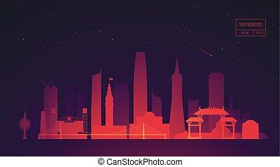 San Francisco skyline building vector illustration