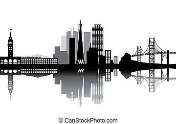 San Francisco skyline - black and white vector illustration