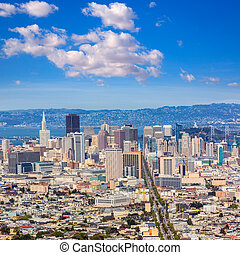 San Francisco skyline from Twin Peaks in California USA high...
