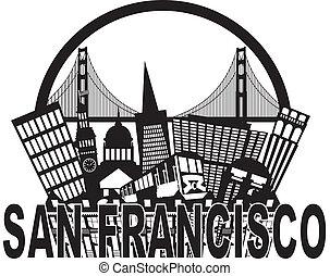 San Francisco Skyline Golden Gate Bridge Black and White Illustration