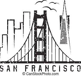 san francisco skyline grunge vector design template illustration