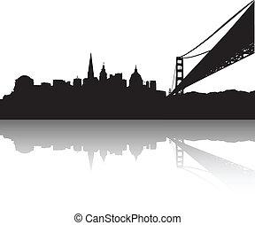 San Francisco Skyline - Vector of the San Francisco on white...