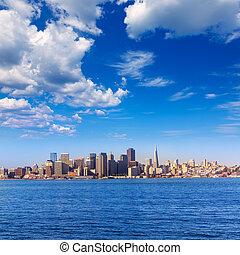 San Francisco skyline in California from Treasure Island USA
