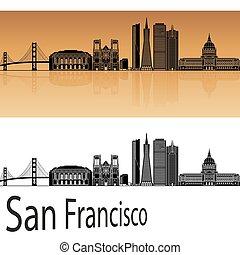 San Francisco skyline in orange background in editable...