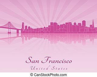 San Francisco skyline in purple radiant orchid