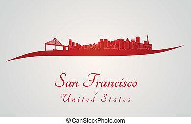San Francisco skyline in red