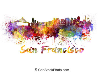 San Francisco skyline in watercolor splatters with clipping ...