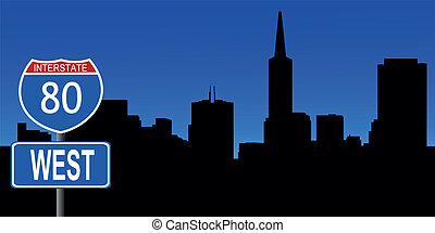 San Francisco skyline interstate