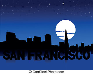 San Francisco skyline moon