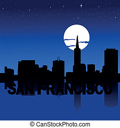 San Francisco skyline moon