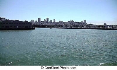 San Francisco skyline, sea view from Alcatraz island in California, United States.