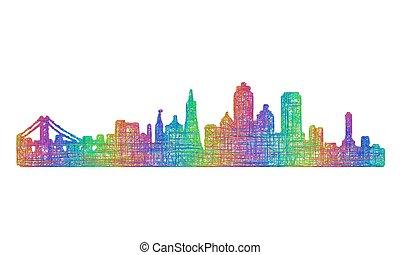 San Francisco skyline silhouette - multicolor line art