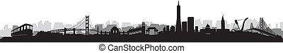 San Francisco Skyline Silhouette vector - San Francisco City...