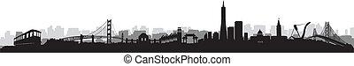 San Francisco Skyline Silhouette vector - San Francisco City...