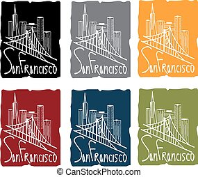 san francisco skyline sticker set