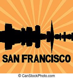 San Francisco skyline sunburst