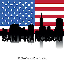 San Francisco skyline text flag
