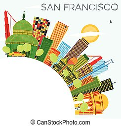 San Francisco Skyline with Color Buildings, Blue Sky and Copy Space.