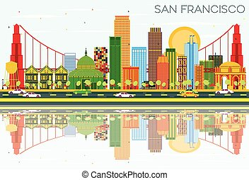 San Francisco Skyline with Color Buildings, Blue Sky and Reflections.