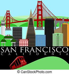 San Francisco Skyline with Golden Gate Bridge - San...