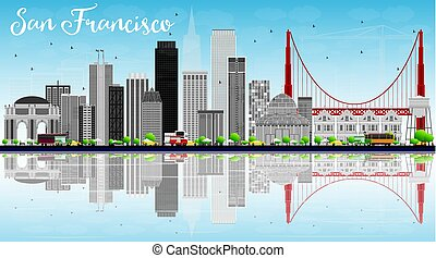 San Francisco Skyline with Gray Buildings, Blue Sky and Reflection.