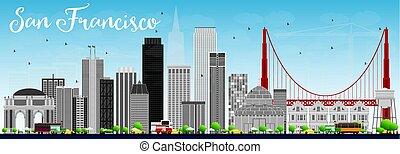 San Francisco Skyline with Gray Buildings and Blue Sky.