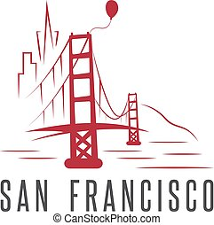 san francisco skyline,balloon and golden gate bridge vector design template illustration