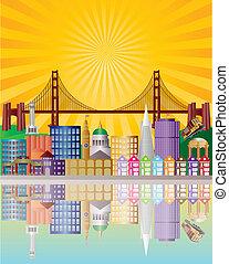 san francisco stad horisont, hos, soluppgång, illustration
