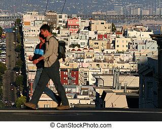 San Francisco - People crossing a street of San Francisco